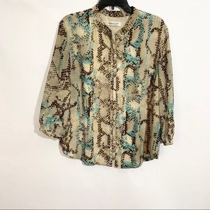 Coldwater Creek Tan Snakeskin Print Button Blouse
